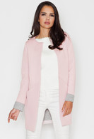Vezi produsul Pink Collarless Front Open Long Coat for women in magazinul molly-dress.com