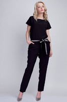 Vezi produsul Black Jumpsuit With Checkered Waist Belt in magazinul molly-dress.com