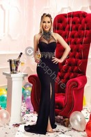 Vezi produsul Rochie lunga neagra cu broderie aurie Rn 1635 in magazinul atmospherefashion.ro