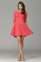 Vezi produsul Coral Giggly Fashion Flared Skirt Dress in magazinul molly-dress.com