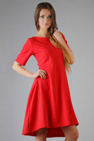 Vezi produsul Lake Red High Fad Dress with Dipped Hem in magazinul molly-dress.com
