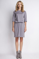 Vezi produsul Grey casual dress with elasticized waist in magazinul molly-dress.com