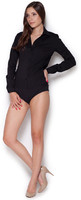 Vezi produsul Black Collared Body Suit Shirt with Long Sleeves in magazinul molly-dress.com