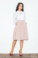 Vezi produsul Pale Pink Midi Length Pleated Skirt with Petite Belt in magazinul molly-dress.com
