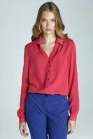 Vezi produsul Fuchsia Blouse with Cuffed Long Sleeves in magazinul molly-dress.com