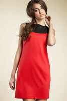 Vezi produsul Red Sleeveless Colour Block Panel Dress in magazinul molly-dress.com