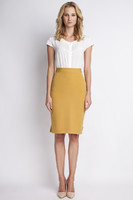 Vezi produsul Mustard pencil skirt with subtel pleats in magazinul molly-dress.com
