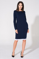 Vezi produsul Navy blue tunic dress with contrast lace trim in magazinul molly-dress.com