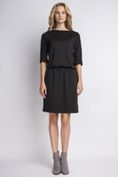 Vezi produsul Black casual dress with elasticized waist in magazinul molly-dress.com