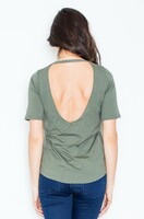 Vezi produsul Olive Low Back Blouse with Asymmetrical Hemline in magazinul molly-dress.com