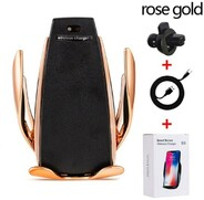 Vezi produsul Suport Auto cu Incarcare Wireless -Smart Sensor Car Wireless Charger S5, Rose Gold in magazinul techstar.ro
