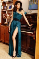 Vezi produsul Rochie lunga turquoise din crepe Rn 1998 in magazinul atmospherefashion.ro