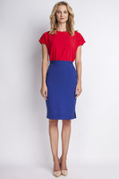 Vezi produsul Blue pencil skirt with subtel pleats in magazinul molly-dress.com