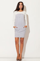 Vezi produsul Grey Color Block Shirt Dress with Side Pockets in magazinul molly-dress.com