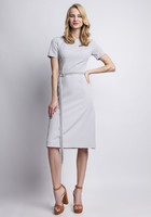 Vezi produsul Grey elegant dress with ornate waist belt in magazinul molly-dress.com