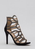 Vezi produsul Incaltaminte Femei CheapChic Studs And Satin Strappy Caged Heels Black in magazinul mycloset.ro