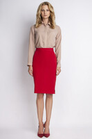 Vezi produsul Red pencil skirt with subtel pleats in magazinul molly-dress.com