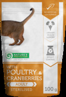 Vezi produsul Natures Protection Cat Sterilized Poultry & Cranberries 100 G in magazinul animalulfericit.ro