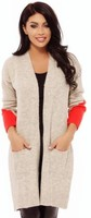 Vezi produsul Cardigan tricot bej maneci colorate Tr 8016bj in magazinul atmospherefashion.ro