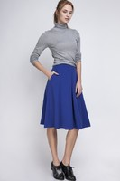 Vezi produsul Indigo Pleated Midi Skirt with Back Zipper in magazinul molly-dress.com