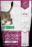 Vezi produsul Natures Protection Cat Skin And Coat Chicken & Salmon 100 G in magazinul animalulfericit.ro