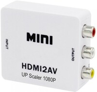 Vezi produsul Adaptor mini convertor HDMI la AV(RCA) Full HD 1080p video si audio stereo alb in magazinul magline.ro