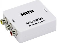 Vezi produsul Adaptor mini convertor AV(RCA) la HDMI Full HD 1080p video si audio stereo alb in magazinul magline.ro