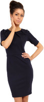 Vezi produsul Navy Blue Pleated Neckline Belted Shift Dress in magazinul molly-dress.com