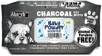 Vezi produsul Absorbant Plus Charcoal Pet Wipes Baby Powder, 80 bucati in magazinul petmart.ro