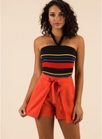 Vezi produsul Imbracaminte Femei CheapChic Something New Tied Paneled Shorts Orange in magazinul mycloset.ro