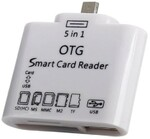 Vezi produsul Mini Smart Card Reader OTG 5 in 1, alb, Usb/TF/SD/Micro Usb 2.0 + Conectare Tastatura USB in magazinul techstar.ro