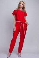 Vezi produsul Red Jumpsuit With Checkered Waist Belt in magazinul molly-dress.com