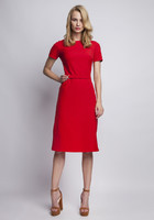 Vezi produsul Red elegant dress with ornate waist belt in magazinul molly-dress.com