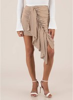 Vezi produsul Imbracaminte Femei CheapChic Discovery Striped Asymmetrical Skirt Brown in magazinul mycloset.ro